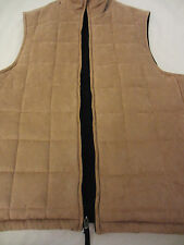 Stafford Brown Reversible Black Zipper Front Casual Suede Vest Mens M Medium