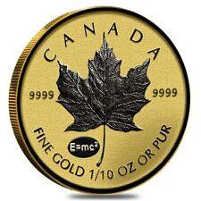 2015 ~1/10~OZ GOLD ~ CANADIAN MAPLE LEAF ~  E=mc2 Privy ~ REVERSE PROOF (SEALED)