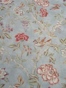COLEFAX & FOWLER CURTAIN FABRIC 'LEONORA - OLD BLUE' 8.8 METRES - 100% Linen