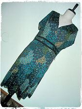 PerSeption Bohemian Boho Emerald Paisley Peacock Tail Wrap Style Dress 3X