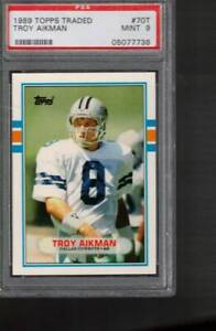 # 70 t  TROY  AIKMAN  rc  1989   topps traded   PSA  9   COWBOYS