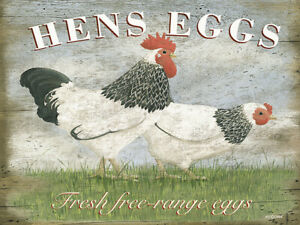 Hens Eggs fresh free range eggs & chickens metal sign country farm home decor
