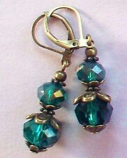double TEAL GREEN CRYSTAL earring BRONZE LEVER BACK handcrafted