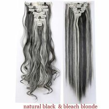 100% Natural Full Head Clip in on Hair Extensions Extention as human Straight LI