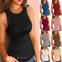 Womens Sleeveless Vest Top Summer Casual Slim Fit Tank Top T-Shirt Blouse LIU9