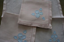 6 serviettes anciennes  coton rose,N°329   broderies, napperons,  thé, table