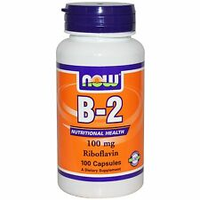 NOW FOODS VITAMIN B2 100 CAPS 100 mg ENERGY AND NERVOUS SYSTEM B 2 RIBOFLAVIN
