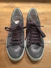 Tods Tod's Blue Metallic Lace Up Trainers Sneakers Shoes Common Projects EU 39 6