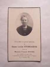 IMAGE MORTUAIRE : Dame Louise STOBBAERTS veuve de François BRACKX - 1935