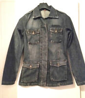Retro Distressed Blue Denim Jacket by Divided Military Style- Ladies UK Size 12