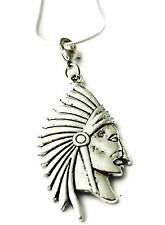 SILVER NATIVE AMERICAN HEAD WITH CLIP ON  PENDANT & CHAIN  -TIBETIAN SILVER -NEW