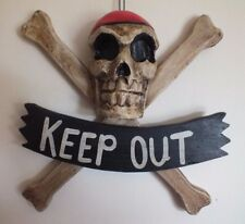 SKULL & BONES PIRATE KEEP OUT DOOR WALL SIGN PLAQUE AGED OLD LOOK STYLE