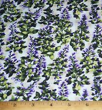 Asian Garden Floral Fabric 2yds Cotton Quilt Sew Purple Ivory