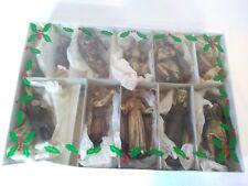 Vintage Nativity Scene Woodtone Plastic Figures - Hand Painted