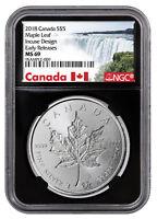 2018 Canada 1 oz Silver Maple Leaf -Incuse $5 NGC MS69 ER Black SKU52136