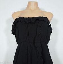 SOLEMIO Black Rayon Strapless Sundress with Ruffle Trim Juniors size M