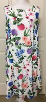 NWT Calvin Klein Size 14W white green pink floral sleeveless flare dress women's