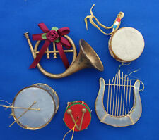 set of 5 Christmas ornaments musical angel harp drums french horn
