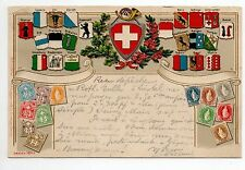 TIMBRES gaufrés sur cartes Embossed stamps on card Blason SUISSE Switz. CANTONS