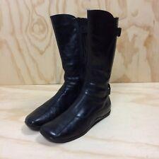 Steve Madden Boulder Black Leather Mid Calf Flat Heel Boots Women's 8M