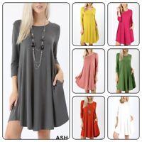 Zanana Woman  Premium 3/4 Sleeve Round Hem A-Line Dress With Side Pocket (S-XL)