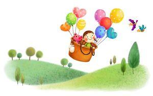 Cute Cartoon Children Balloons Nursery Kids Wall Art Framed Canvas Pictures
