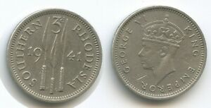 H0483 - Southern Rhodesia 3 Pence 1941 KM#16 VF+ Silver George VI. Südrhodesien