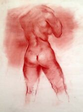 "Julian Ritter - Nude Lady  _Conte´  on Vellum 19"" x 24"" - Un-Signed - 343"