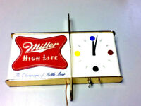 Miller high life beer sign 1957 shark fin wall clock lighted back bar light work