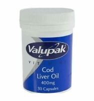 Valupak Cod Liver Oil 30 Capsules 400mg New