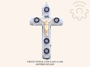 Croce votiva con 5 luci a led funziona a batterie non incluse per cimitero misur