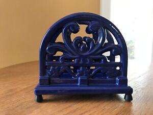 Enamel Cast Iron? Napkin/Mail/Letter Holder- Footed- Heavy- Blue- Farmhouse