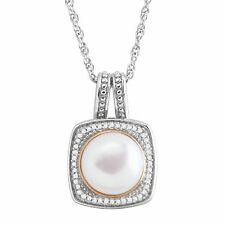 Honora Freshwater Pearl & 1/8 ct Diamond Pendant in 14K Rose Gold-Plated Silver