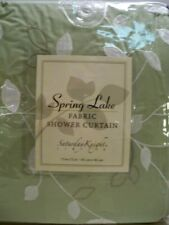 Floral Bath Shower Curtain SPRING LAKE Embroidered Garden Leaves