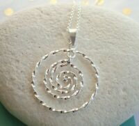 Sterling Silver Twisted Spiral Pendant Necklace - UK Seller