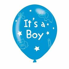 6pk It's A Boy Blue Latex Balloons 27.5cm Baby Shower Decorations