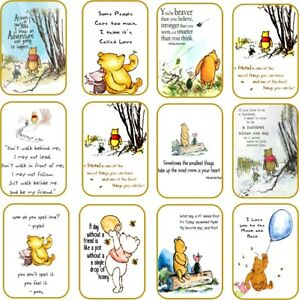 Classic Winnie the Pooh 12 quotes on party tags small medium large silk ribbon