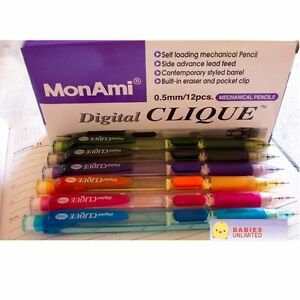 MonAmi Digital Clique Mechanical Pencil 0.5 mm Pink Org Grn Blue Gray Purple NEW