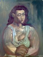 "Picasso Style Female Portrait Original Cubism Oil Painting 18""x24"" Signed Art"