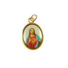 Sacred Heart Jesus Catholic medal rosary beads pendant gold metal picture
