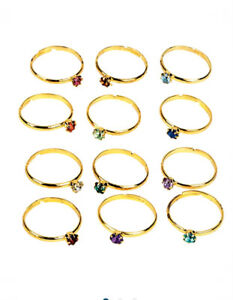 Girls Teens Crystal Birthstone Ring Jewelry Boxed Set- Choose Month Get 3 Rings