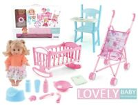 Kids INTERACTIVE Doll Play Set Baby Pram Stroller High Chair Cot Accessories LV