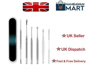 6 Pcs Earpick Ear Wax Curette Remover Ear Cleaner Spoon Clean Tool Box UK  T1030
