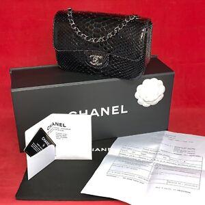 Chanel Flap Bag Mini Python Leder Schwarz Rechnung, Garantiekarte & Cites A69900
