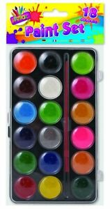 Kids Childrens Paint Set 18 Assorted Paints in Case Paint and Brush Set