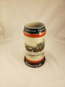 Budweiser 1990 Collector's Series An American Tradition Holiday Beer Stein NEW