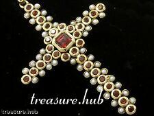 CP191 SUPERB Genuine 9ct Gold Natural GARNET & PEARL Vintage style Cross Pendant