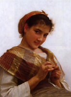 Stunning Oil painting Bouguereau - Young girl crocheting nice portrait canvas