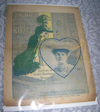 Vintage Old Paper Sheet Music 1904 IN THE COTTAGE OF KISSES AND LOVE Campbell