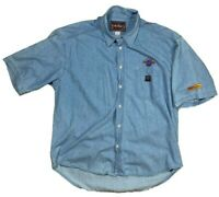 Hard Rock Cafe Mens 2XL Light Blue Denim Short Sleeve Button Shirt